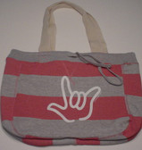 Beachcomber Bag with White I LOVE YOU Outline (Pink)