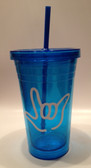 Tumbler with Straw Small Blue with White I LOVE YOU (16 oz. )