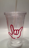 Tumbler with Straw Small Clear with Pink I LOVE YOU ( 16 oz.)