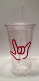 Tumbler with Straw Small Clear with Red I LOVE YOU ( 16 oz.)