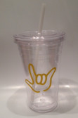 Tumbler with Straw Small Clear with Silver I LOVE YOU ( 16 oz.)