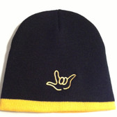Knit Skull Cap Black w/Yellow Strip (OUTLINE I LOVE YOU HAND)