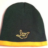 Knit Skull Cap Forest w/Yellow Strip (OUTLINE HAND)