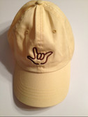 "Butter Yellow Cap with Outline Hand  ""I LOVE YOU ""  (BROWN THREAD)"