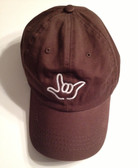 "Brown Cap with Outline Hand  ""I LOVE YOU ""  (WHITE THREAD)"