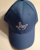 """Sky Blue Cap with Outline Hand  """"I LOVE YOU """"  (WHITE THREAD)"""