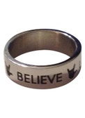 "Ring Band with I LOVE YOU hands "" Love. Faith. Hope, Believe"""