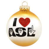 I ♥ ASL Glass Ornament