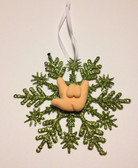 """Snow Flakes Ornaments with Sign Hand """" I LOVE YOU"""" ( Lime)"""