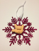 """Snow Flakes Ornaments with Sign Hand """" I LOVE YOU"""" ( Fuschia)"""