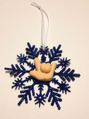 """Snow Flakes Ornaments with Sign Hand """" I LOVE YOU"""" ( Navy Blue)"""