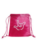COLORTONE SPORT CINCH SACK (Spiral Pink) with Outline I LOVE YOU Hand (White)