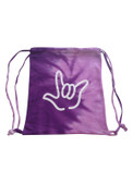COLORTONE SPORT CINCH SACK (Spiral Purple) with Outline I LOVE YOU Hand (White)
