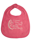 I LOVE YOU TO THE MOON AND BACK (PINK) BABY BIB