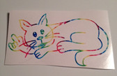 Cat Sign  I LOVE YOU  Outline Decak ( Rainbow)