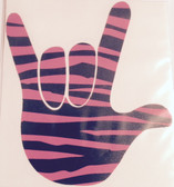 AUTO DECALS STICKER LARGE FULL HAND I LOVE YOU ZEBRA  BLACK/HOT PINK)