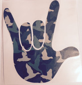 AUTO DECALS STICKER LARGE FULL HAND I LOVE YOU (DUCKS CAMO GREEN)