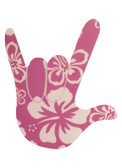 AUTO DECALS STICKER LARGE FULL HAND I LOVE YOU (PINK HIBISCUS )