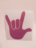 AUTO DECALS STICKER LARGE FULL HAND I LOVE YOU (BASKETBALL TEXTURE)