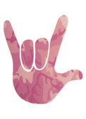 AUTO DECALS STICKER LARGE FULL HAND I LOVE YOU (PINK CAMO )