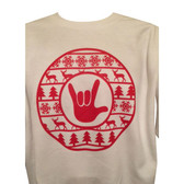 Christmas Ugly Sweater Circle with ILY Hand ( Red Printing )