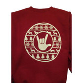 CHRISTMAS UGLY SWEATER CIRCLE WITH ILY HAND ( WHITE PRINTING )
