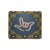 "MOUSE PAD WITH SIGN LANGUAGE "" I LOVE YOU"" BLUE AND GREEN DIAMOND WITH BLUE CIRCLE ON WHITE OUTLINE HAND"
