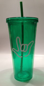 Tumbler with Straw Tall Green with White I LOVE YOU (24 oz.)