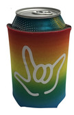 "KOOZIES FOAM CAN COOLER WITH SIGN LANGUAGE HAND OUTLINE "" I LOVE YOU"" ( RAINBOW)"