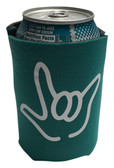 "KOOZIES FOAM CAN COOLER WITH SIGN LANGUAGE HAND OUTLINE "" I LOVE YOU"" ( TEAL)"