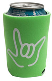 "KOOZIES FOAM CAN COOLER WITH SIGN LANGUAGE HAND OUTLINE "" I LOVE YOU"" ( LIME)"