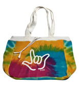 BEACHCOMBER BAG WITH WHITE I LOVE YOU OUTLINE (RAINBOW)