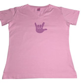 DOT (PURPLE) WITH SIGN LANGUAGE HAND (SMALL ) ADULT SIZE V NECK