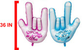"36 IN SIGN LANGUAGE HAND "" I LOVE YOU"" MYLAR BALLOON (CHOOSE BLUE OR PINK)"