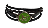 "LEATHER BRACELET SNAPS BUTTON CHARM WITH SIGN LANGUAGE "" I LOVE YOU "" ( LIME BACKGROUND WITH SILVER OUTLINE HAND) B23"