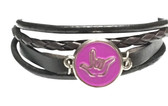 "LEATHER BRACELET SNAPS BUTTON CHARM WITH SIGN LANGUAGE "" I LOVE YOU "" ( PURPLE BACKGROUND WITH SILVER OUTLINE HAND) B25"