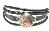 "LEATHER BRACELET SNAPS BUTTON CHARM WITH SIGN LANGUAGE "" I LOVE YOU "" ( SILVER BACKGROUND WITH PINK  OUTLINE HAND) B27"