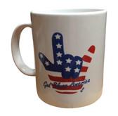 """Mug Ceramic Sign Language Hand """" I LOVE YOU""""  (USA  GOD BLESS AMERICA)"""
