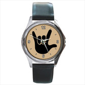 WATCHES CIRCLE WITH BLACK I LOVE YOU FULL HAND (TAN BACKGROUND) SILVER