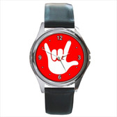 WATCHES CIRCLE WITH WHITE I LOVE YOU WHITE FULL HAND (RED BACKGROUND) SILVER