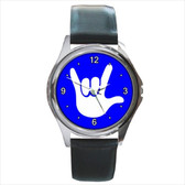 WATCHES CIRCLE WITH WHITE I LOVE YOU WHITE FULL HAND (BLUE BACKGROUND) SILVER