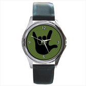 WATCHES CIRCLE WITH WHITE I LOVE YOU BLACK FULL HAND (OLIVE GREEN BACKGROUND) SILVER