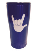 "BLUE STAINLESS STEEL TUMBLER 20 OZ WITH SIGN LANGUAGE "" I LOVE YOU "" (WHITE HAND)"