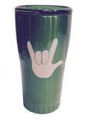 "GREEN STAINLESS STEEL TUMBLER 20 OZ WITH SIGN LANGUAGE "" I LOVE YOU "" (WHITE HAND)"