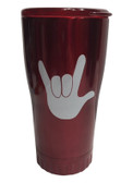 "RED STAINLESS STEEL TUMBLER 20 OZ WITH SIGN LANGUAGE "" I LOVE YOU "" (WHITE HAND)"
