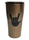 "COPPER STAINLESS STEEL TUMBLER 20 OZ WITH SIGN LANGUAGE "" I LOVE YOU "" (BLACK HAND)"