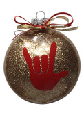 "DISC SHAPES (LIKE AN M & M) 3.5 INCHES GLITTER ORNAMENTS WITH SIGN LANGUAGE HAND "" I LOVE YOU"" (GOLD  GLITTER )"