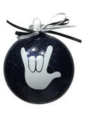 "DISC SHAPES (LIKE AN M & M) 3.5 INCHES GLITTER ORNAMENTS WITH SIGN LANGUAGE HAND "" I LOVE YOU"" (BLACK GLITTER )"