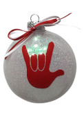 "DISC SHAPES (LIKE AN M & M) 3.5 INCHES GLITTER ORNAMENTS WITH SIGN LANGUAGE HAND "" I LOVE YOU"" (WHITE GLITTER )"