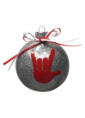 "DISC SHAPES (LIKE AN M & M) 3.5 INCHES GLITTER ORNAMENTS WITH SIGN LANGUAGE HAND "" I LOVE YOU"" (SILVER GLITTER )"